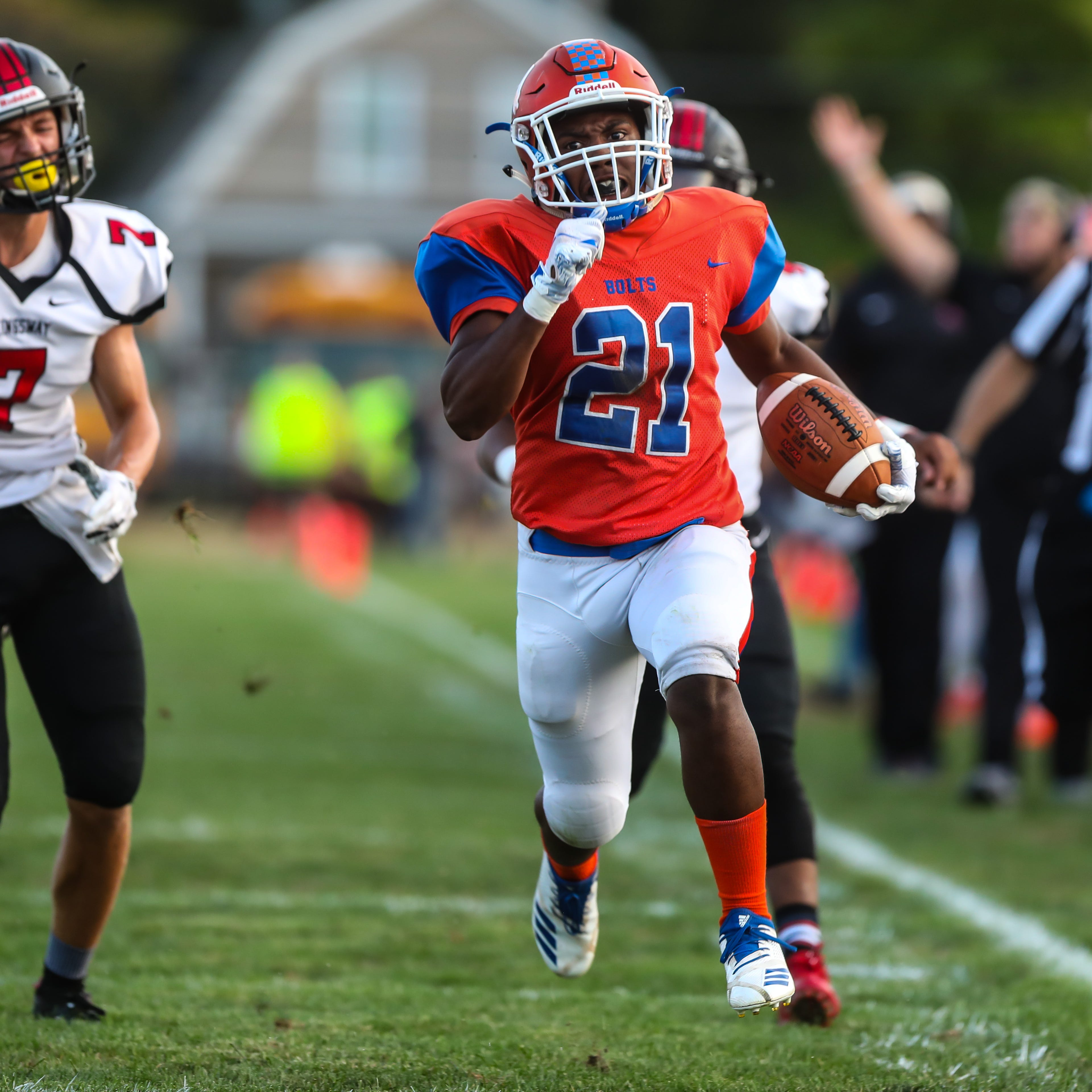 Dashon Byers of Millville takes off on a long run against Kingsway at Millville High School, September 21, 2018.