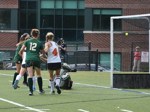 Cara O'Shea's shot sails into the net, over a diving Samantha Maresca, to give Lakeland a 1-0 lead over Mamaroneck.