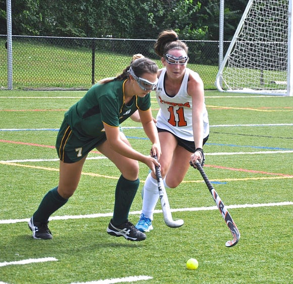 Lakeland's Keirra Ettere (l) and Mamaroneck's Abby Troy (r) battle for the ball.