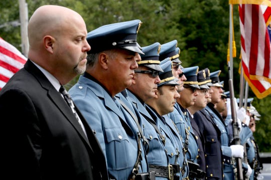 Members of the New Rochelle police department were part of the honor guard for the funeral of retired New Rochelle police detective Mark Gado at the Church of St. Denis in Hopewell Junction Sept. 22, 2018. Mark Gado, a resident of Hopewell Junction, who spent days at the World Trade Center after the Sept. 11 attacks, died of 9/11 related illness.