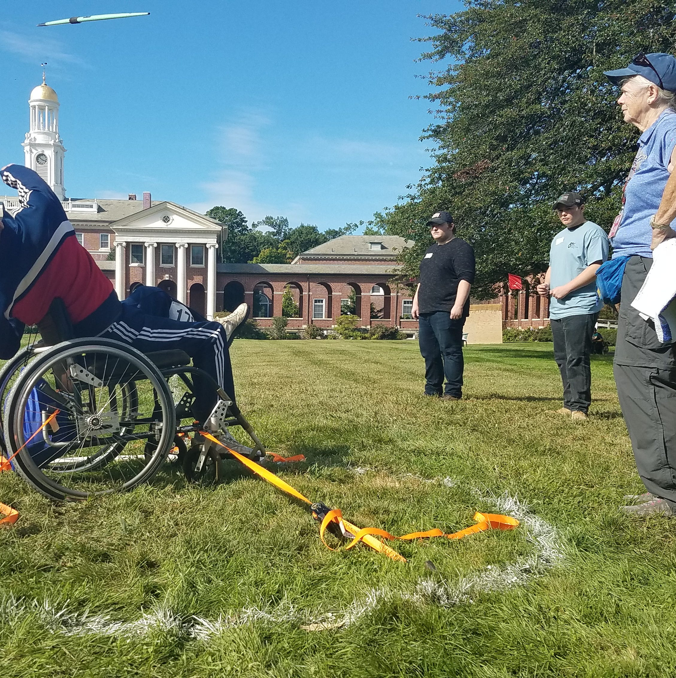 Roger Muter, 70, of Mahwah throws a javelin at the 39th annual Wheelchair Games at Burke Rehabilitation Hospital on Saturday.