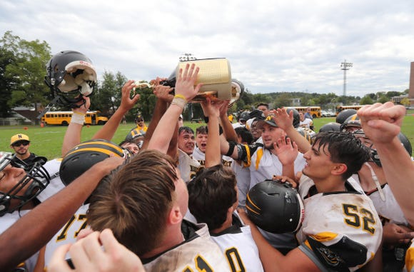 Nanuet defeats Pearl River 14-6 to claim the Little Brown Jug at MacCalman Field in Nyack on Saturday, September 22, 2018.