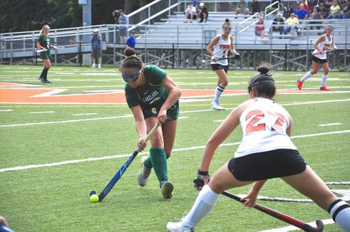 Mamaroneck's Erin Cotter (27) defends as Lakeland's Emily Kness carries the ball in Tiger territory.