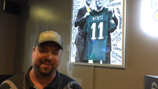 Brent Tehven, co-owner and GM of the Herd & Horns sports bar in Fargo, which gets big Eagles crowds to watch Wentz play on TV.