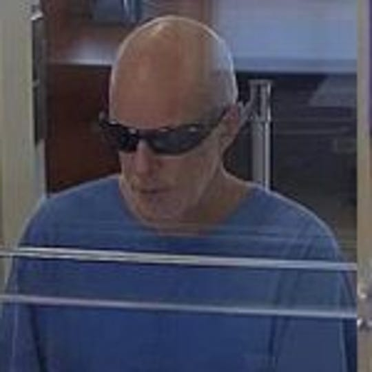 State police said this man robbed two banks last week, warning tellers he was armed with a bomb. State police are trying to identify him.