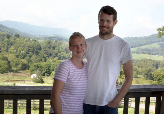 This photo taken Sept. 6, 2018, shows Michelle and Daniel Banker who own and operate Whitegate Farm in Pearisburg, Va.