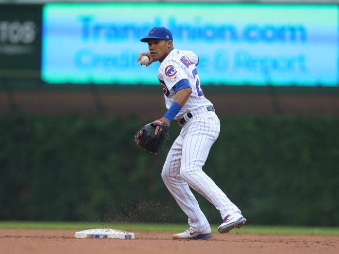 Addison Russell is currently suspended under MLB's domestic violence rules.