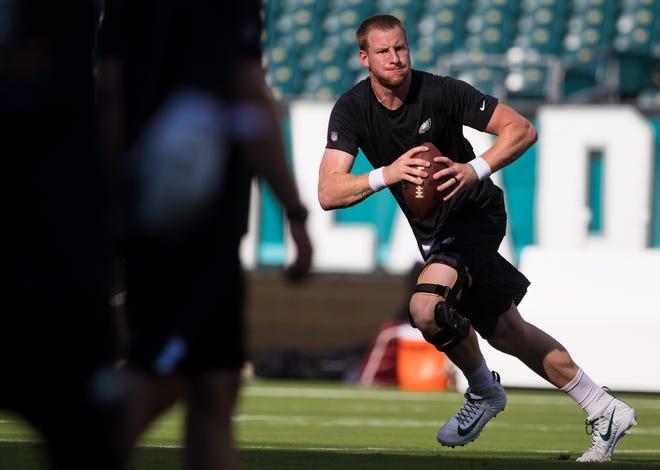 Philadelphia Eagles quarterback Carson Wentz runs drills before a preseason game against the New York Jets at Lincoln Financial Field.