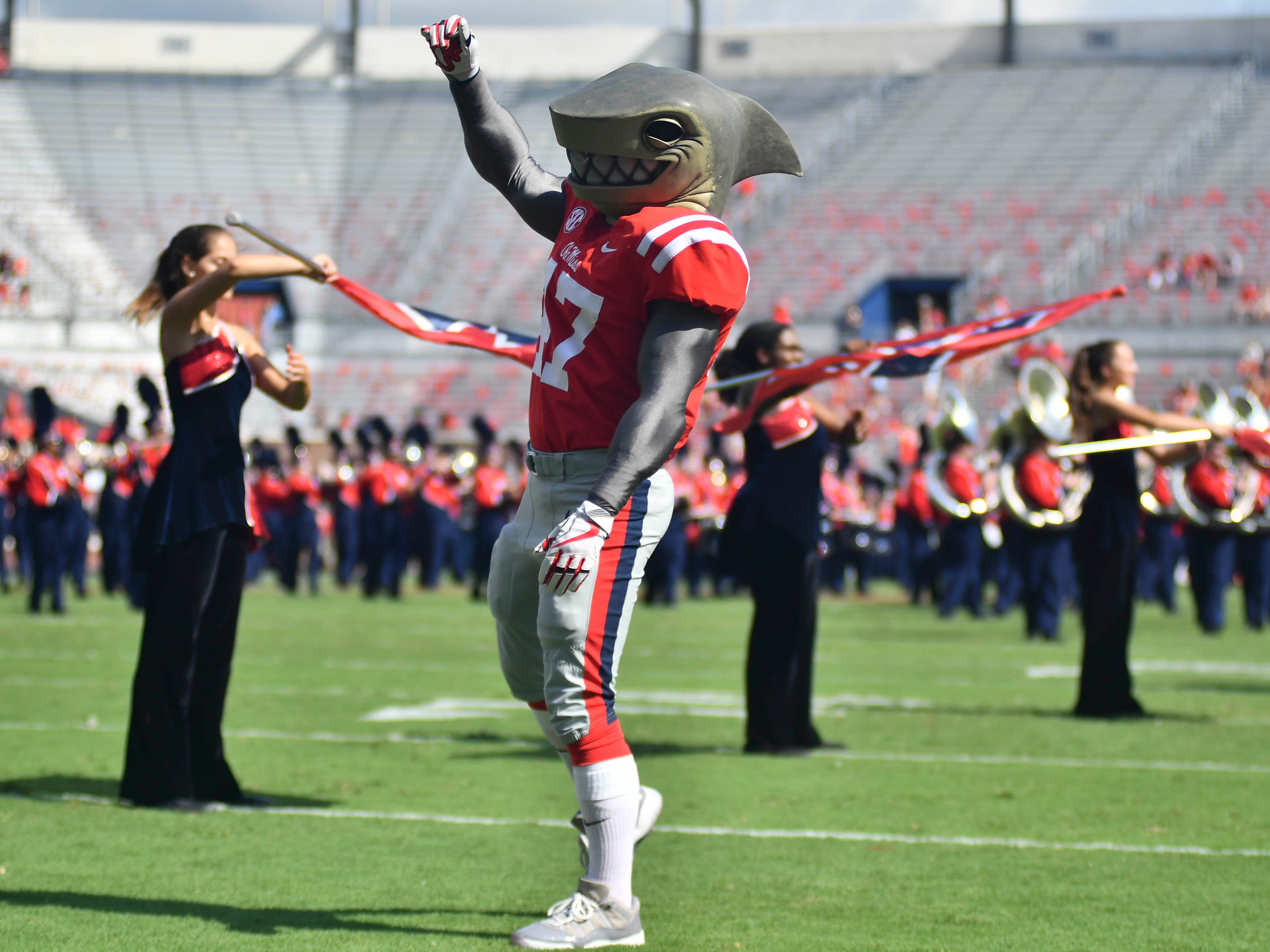 Mississippi Rebels mascot Tony performs before the game against the Kent State Golden Flashes at Vaught-Hemingway Stadium.