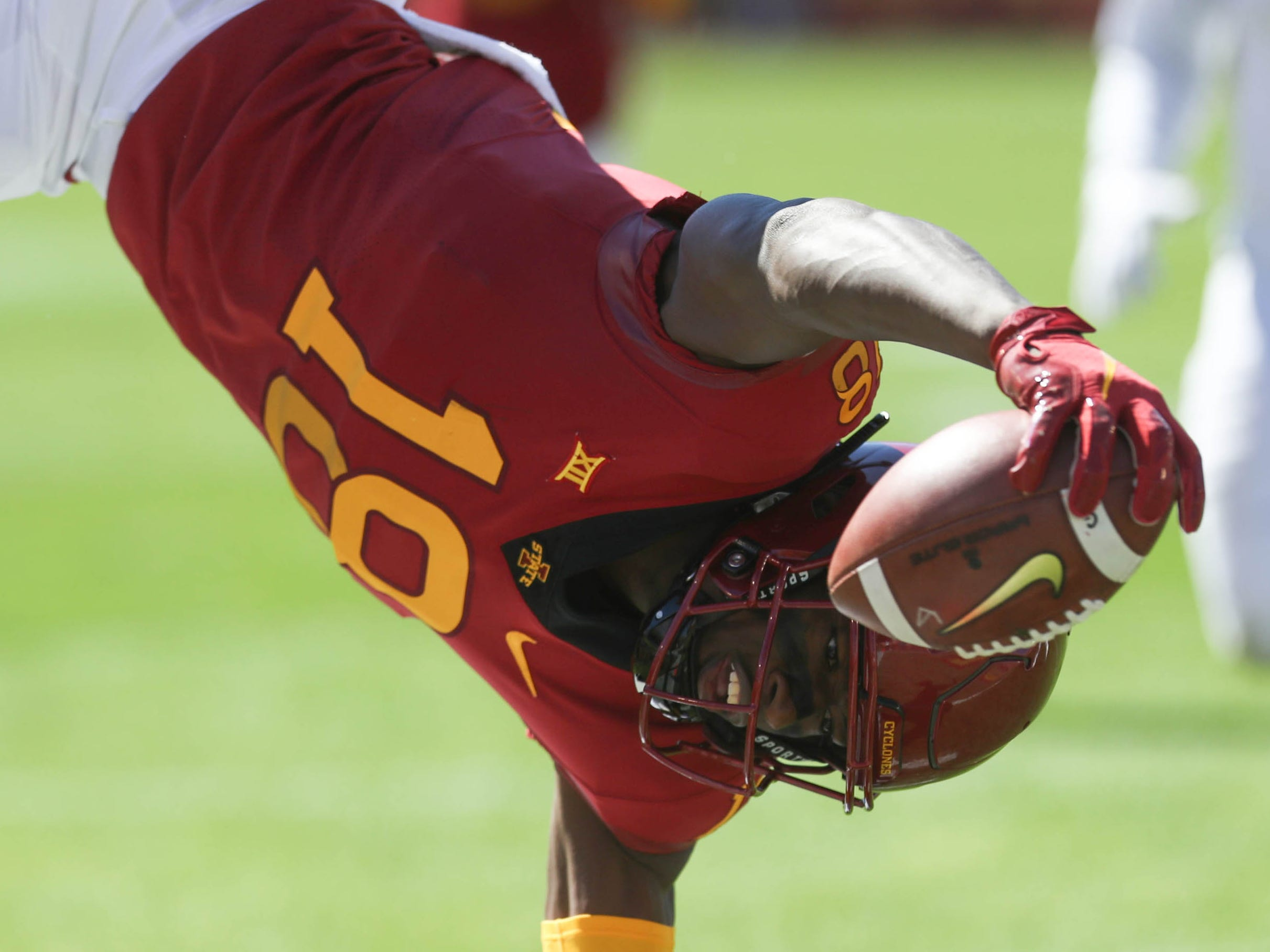 Iowa State Cyclones wide receiver Hakeem Butler scores a touchdown against the Akron Zips at Jack Trice Stadium.