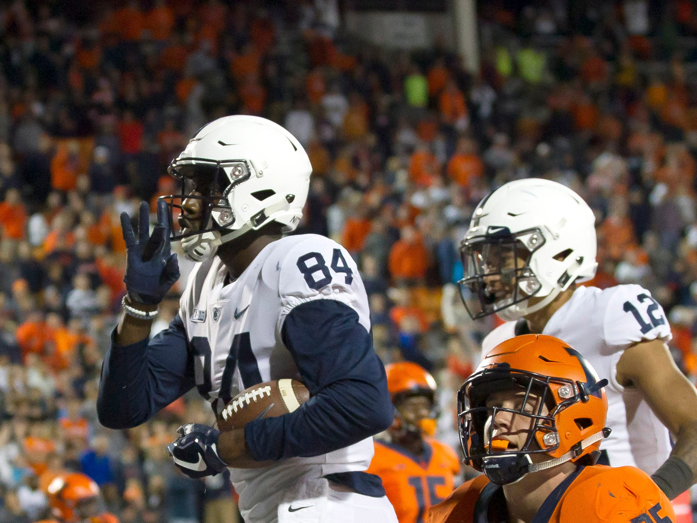 Penn State Nittany Lions wide receiver Juwan Johnson (84) celebrates after a touchdown against the Illinois Fighting Illini during the fourth quarter at Memorial Stadium.