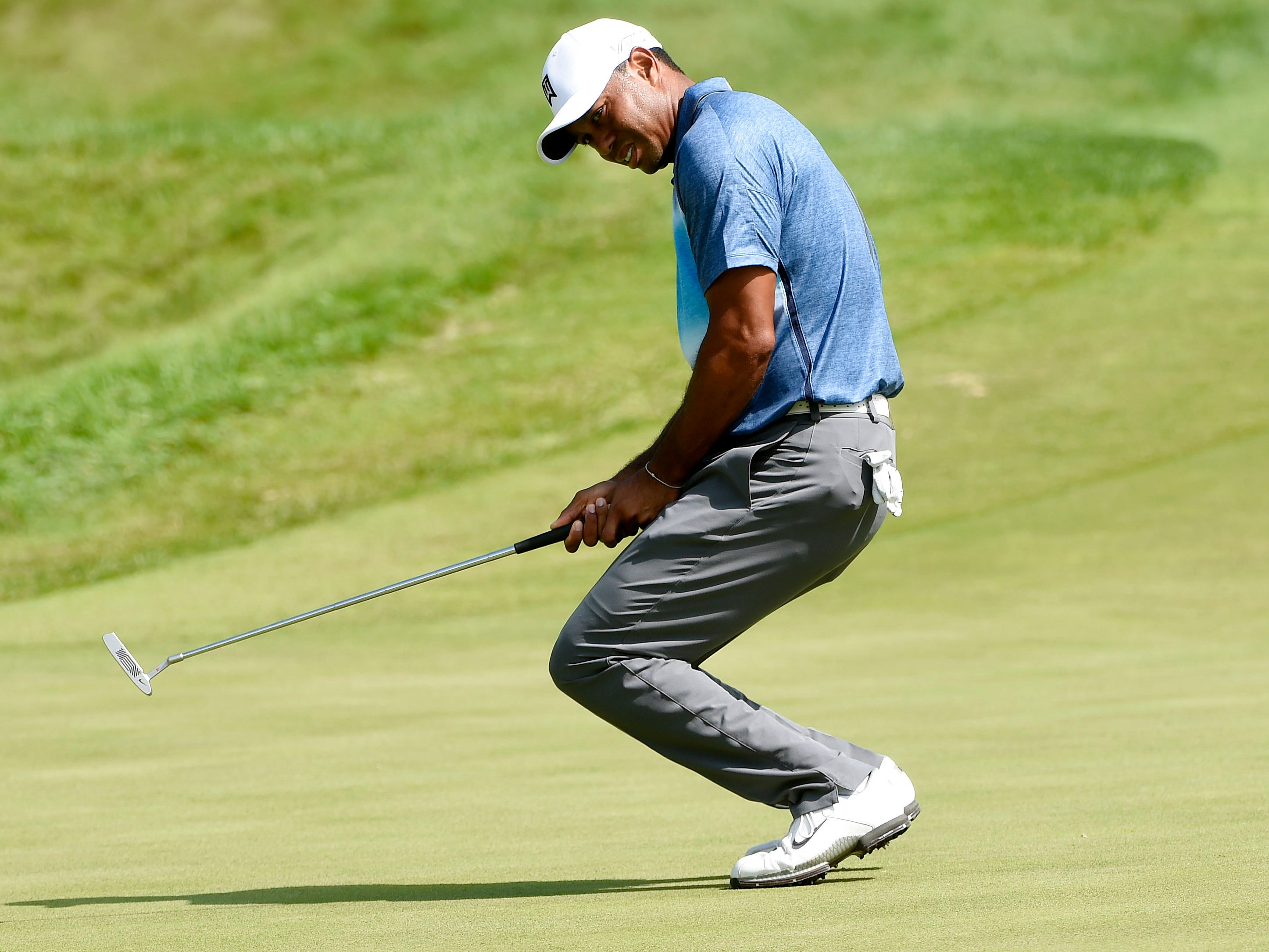 In September 2015 after missing the cut in three of the four majors, Woods has a second back surgery. Here he's shown at the 2015 PGA Championship  at Whistling Straits.