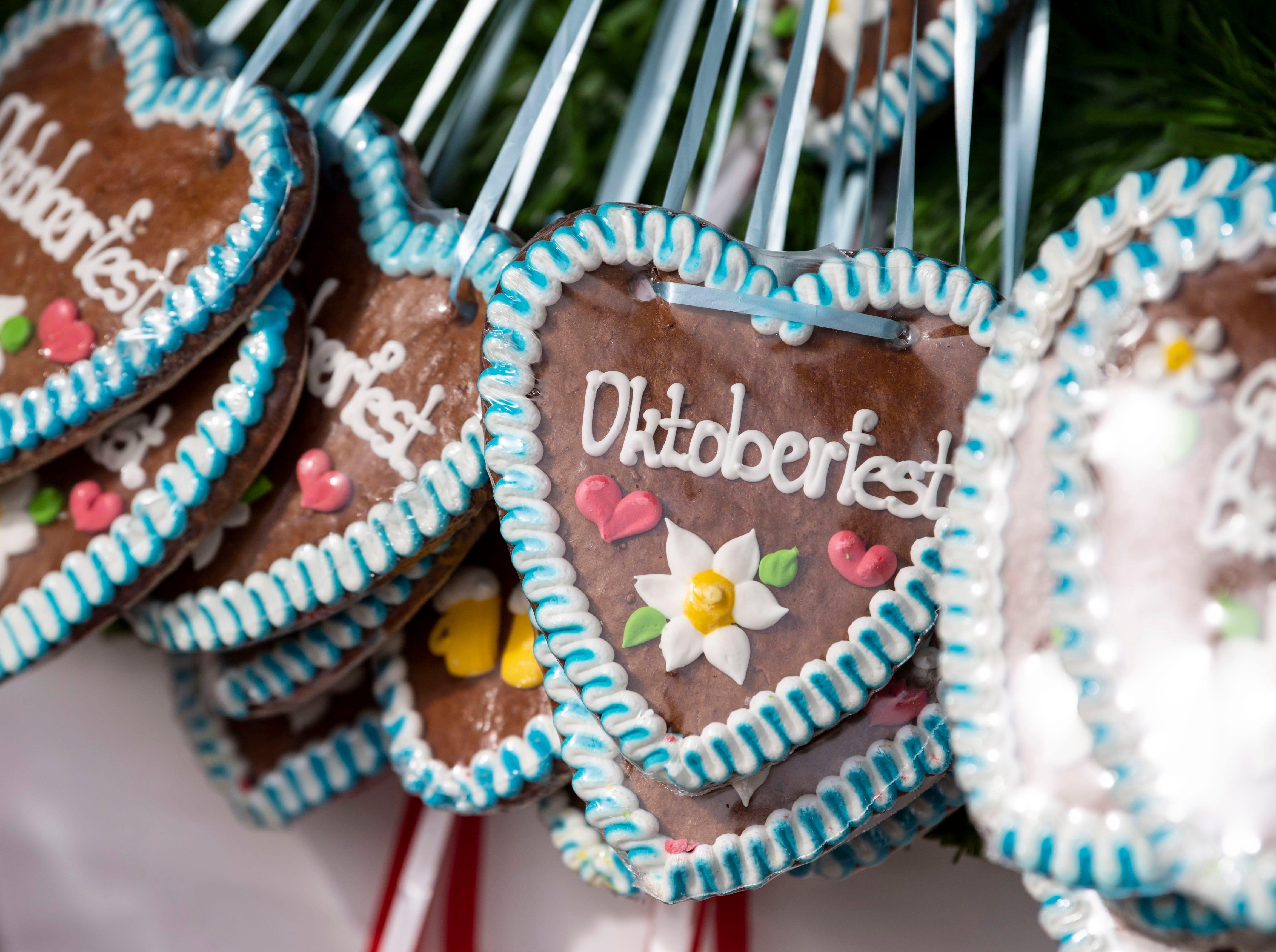 A close-up of Oktoberfest gingerbread hearts.