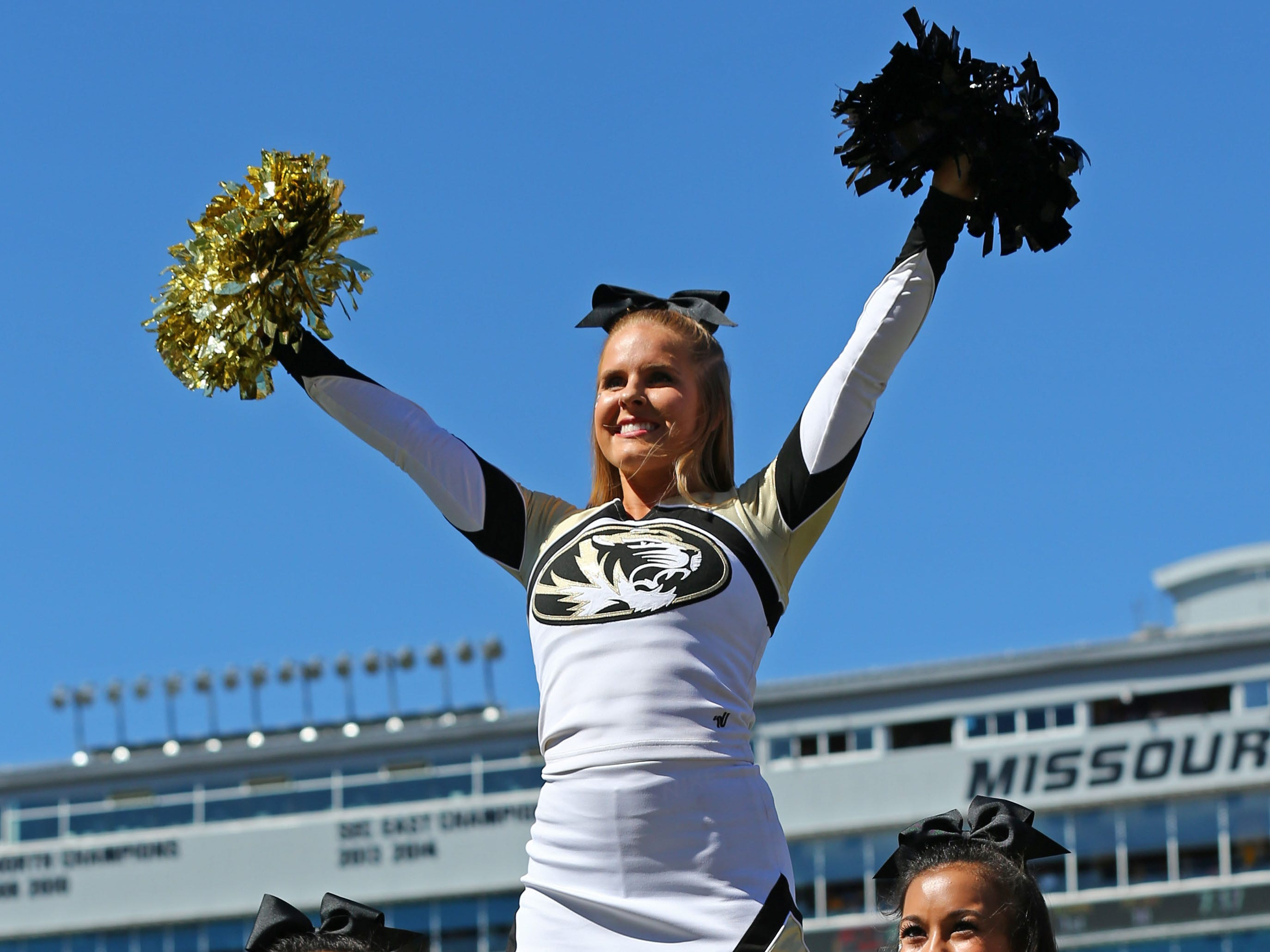 Missouri cheerleaders perform in the first half against Georgia at Memorial Stadium/Faurot Field. DAY Sports