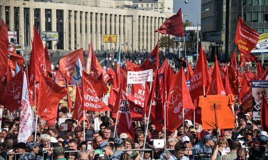 Demonstrators called by the Communist Party of the Russian Federation protest against pension reforms in central Moscow on September 22, 2018. (