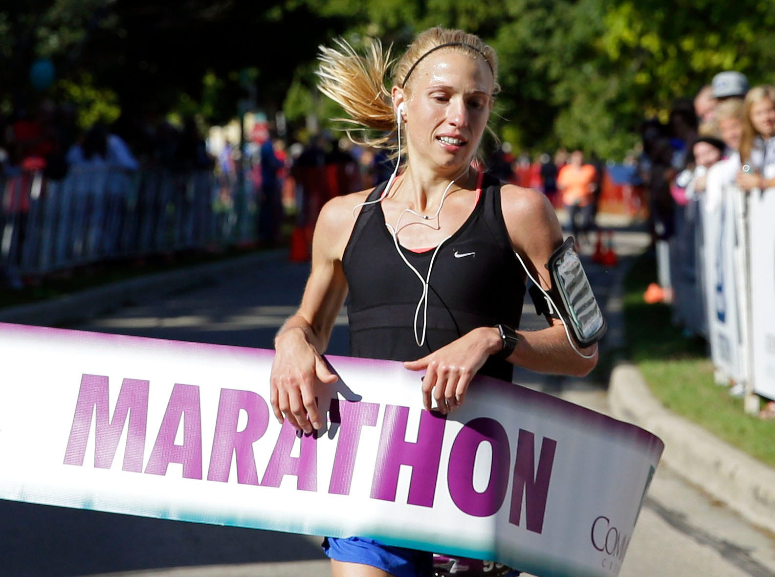 Kathy Derks is the female winner as the Community First Fox Cities Marathon takes place Sept. 23, 2018, across the Fox Cities.