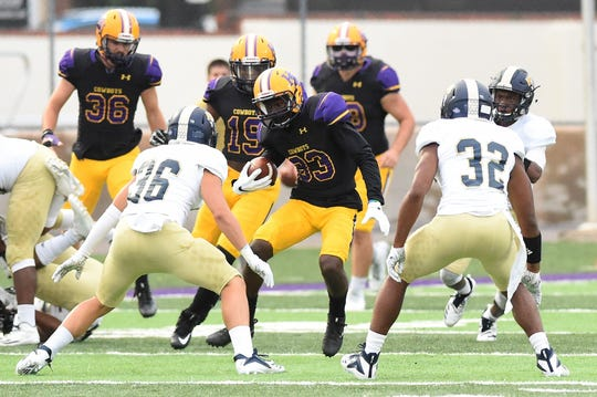 Hardin-Simmons' Rae Millsap (83) returns a kick earlier this season against Howard Payne. The Abilene High product has turned himself from a return specialist to an offensive weapon for the Cowboys after catching a pair of touchdowns last week.