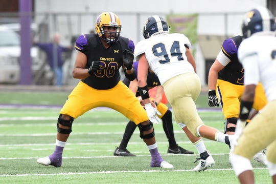 Hardin-Simmons right tackle Jonathan Castaneda (68) sets up to block against Howard Payne earlier this year. Castaneda was the 2016 ASC Freshman of the Year, first-team All-ASC last season and was named preseason All-America this year.