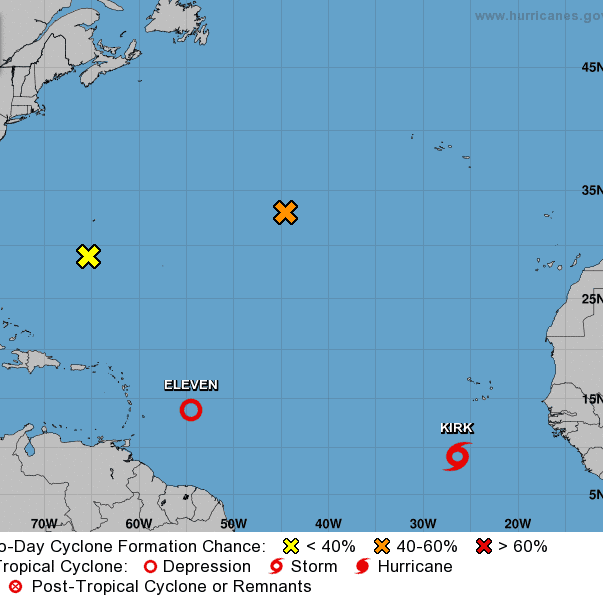 Tropical Storm Kirk moving at 16 mph in eastern Atlantic; NHC watching 3 more systems