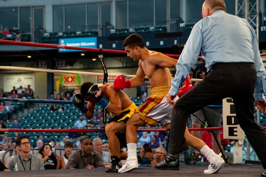 Luis Acosta vs. Jerry Sao the in Knock it out of the park boxing event at Whataburger Field on Saturday, Sept. 22, 2018.