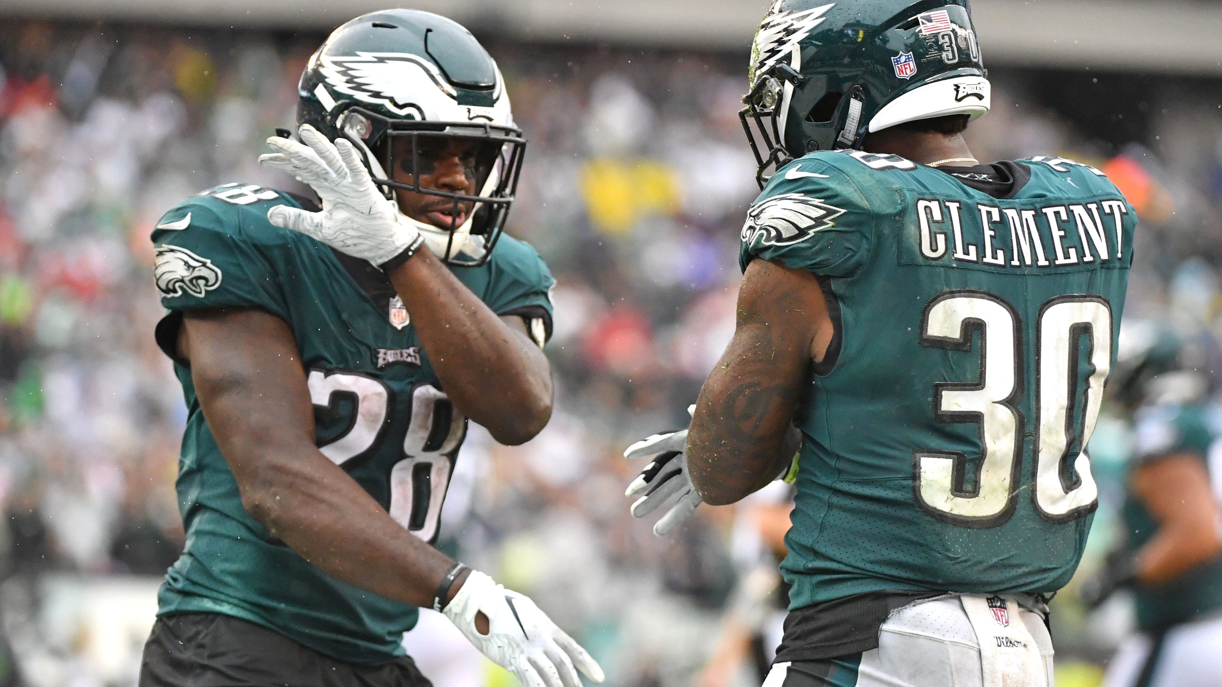 Corey Clement, Wendell Smallwood and Josh Adams combined for 142 yards and a touchdown as the Eagles had a balanced attack in Carson Wentz's return
