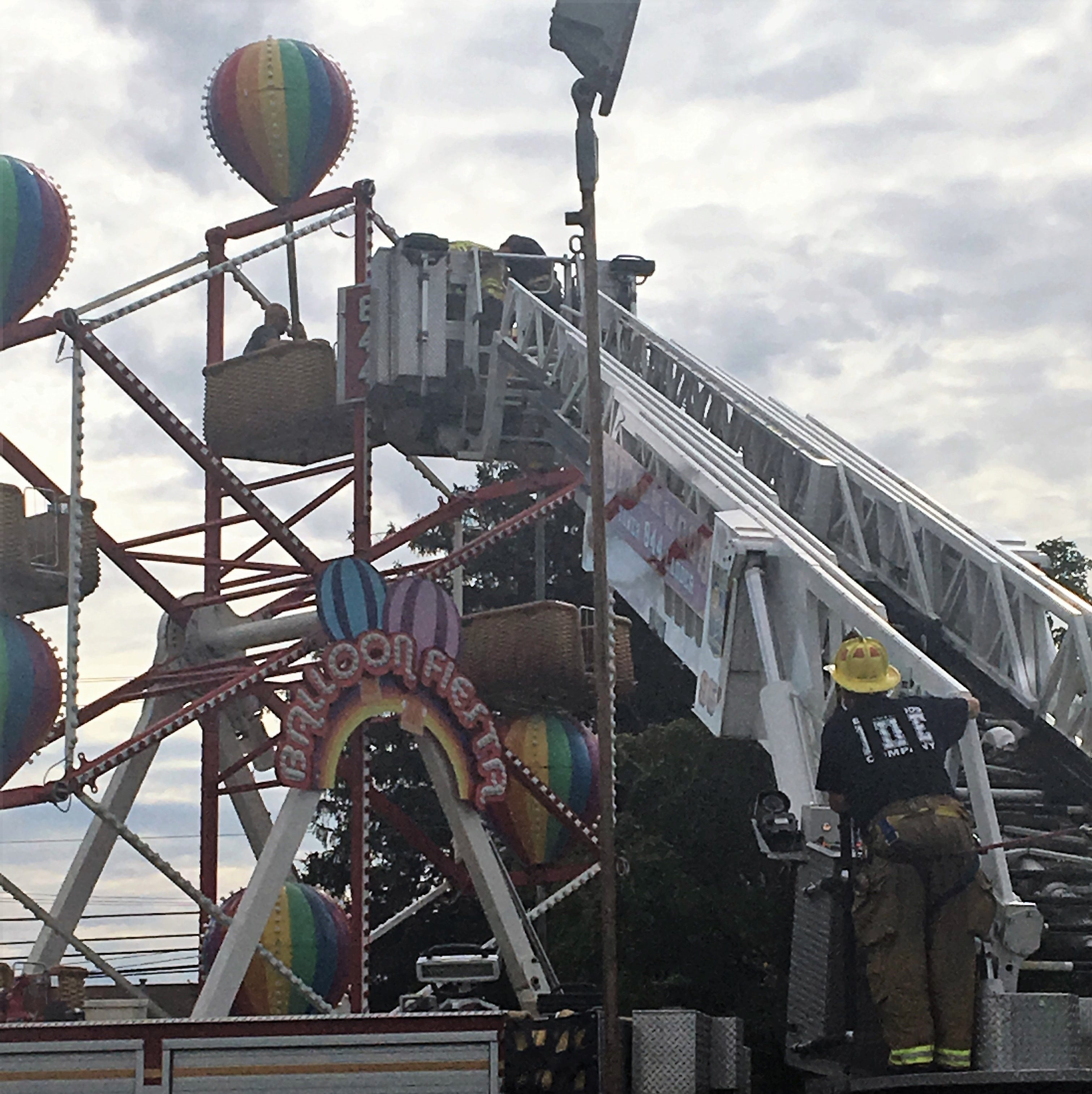 Firefighters rescued riders from a Ferris wheel that broke down at Camden County Fair Saturday.