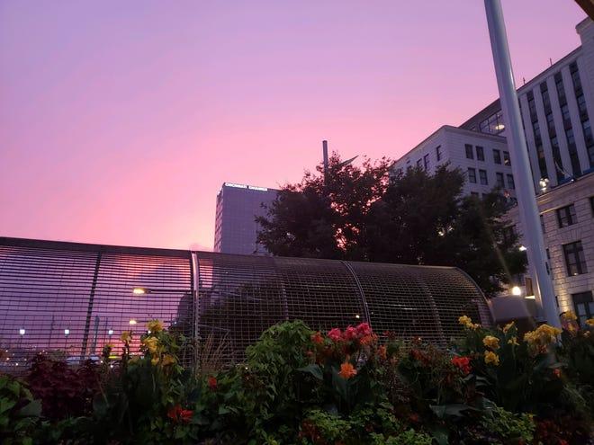 The vibrant sunset in Downtown Cincinnati on Sept. 22, 2018.