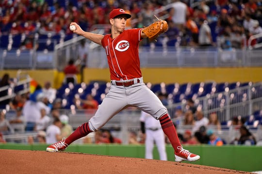 Sep 23, 2018; Miami, FL, USA; Cincinnati Reds relief pitcher Michael Lorenzen (21) delivers a pitch in the first inning against the Miami Marlins at Marlins Park. Mandatory Credit: Jasen Vinlove-USA TODAY Sports