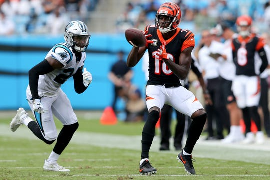 Cincinnati Bengals wide receiver A.J. Green (18) completes a catch in the second quarter during a Week 3 NFL game between the Cincinnati Bengals and the Carolina Panthers, Sunday, Sept. 23, 2018, at Bank of America Stadium in Charlotte, North Carolina.