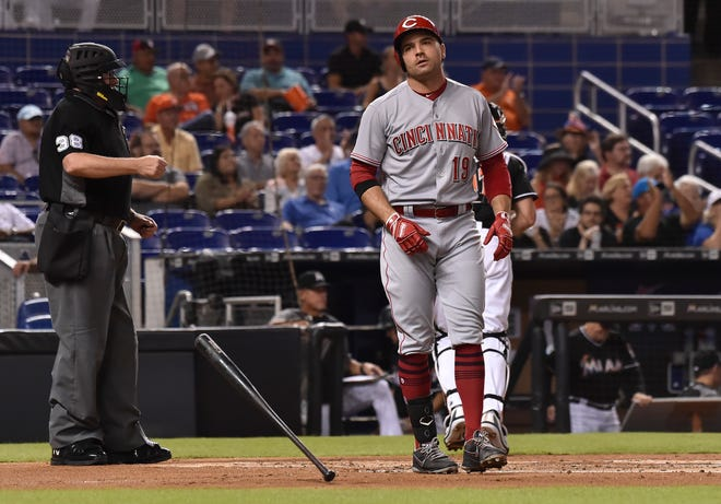 Sep 22, 2018; Miami, FL, USA; Cincinnati Reds first baseman Joey Votto (19) reacts after striking out to end the first inning as umpire Gary Cederstrom (38) makes the call against the Miami Marlins at Marlins Park. Mandatory Credit: Steve Mitchell-USA TODAY Sports