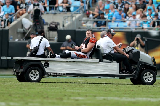 Cincinnati Bengals defensive tackle Ryan Glasgow (98) is carted off the field after suffering an injury in the fourth quarter during a Week 3 NFL game between the Cincinnati Bengals and the Carolina Panthers, Sunday, Sept. 23, 2018, at Bank of America Stadium in Charlotte, North Carolina. Carolina won 31-21.