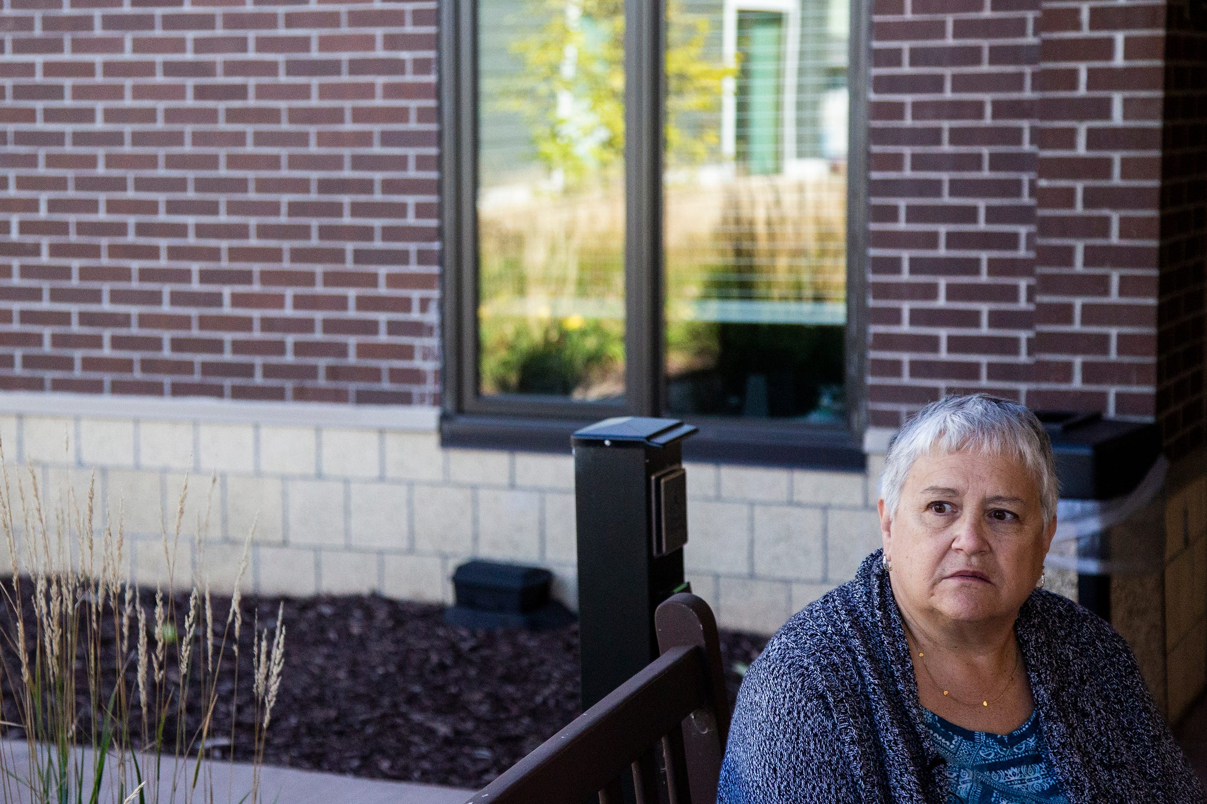 Linnea Clausen, of Craig near Sioux City, talks about some of the challenges she's faced finding care for her husband Gailen, who has severe dementia from a condition called frontotemporal degeneration, outside Bethany Life nursing home on Sunday, Sept. 23, 2018 in Story City.