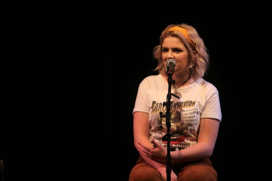"""American Idol"" winner and Clarksville, Iowa native Maddie Poppe performs a sold out show at the Wild Rose Casino in Clinton, Iowa on Sept. 22, 2018."