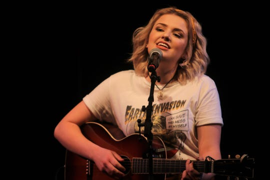 """American Idol"" winner and Clarksville, Iowa native Maddie Poppe performing at a sold-out show at Wild Rose Casino in Clinton, Iowa on Sept. 22, 2018."