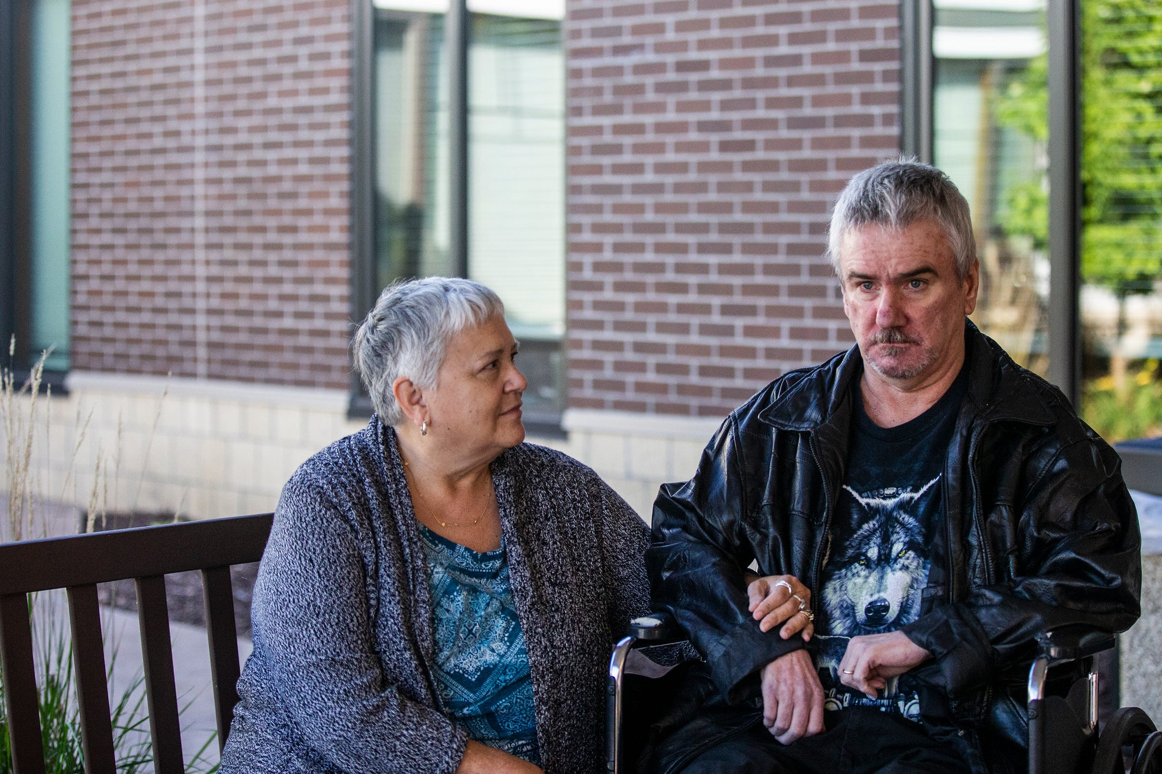 Linnea and Gailen Clausen, of Craig near  Sioux City, sit outside Bethany Life nursing home on Sunday, Sept. 23, 2018 in Story City. Due to a shortage of care facilities accepting patients like Gailen, Bethany Life, which is three hours from their home in Craig, is the closest option for them.
