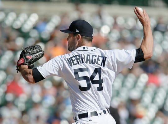 Tigers pitcher Drew VerHagen throws against the Kansas City Royals in the sixth inning of the Tigers' 3-2 loss to the Royals on Sunday, Sept. 23, 2018, at Comerica Park.