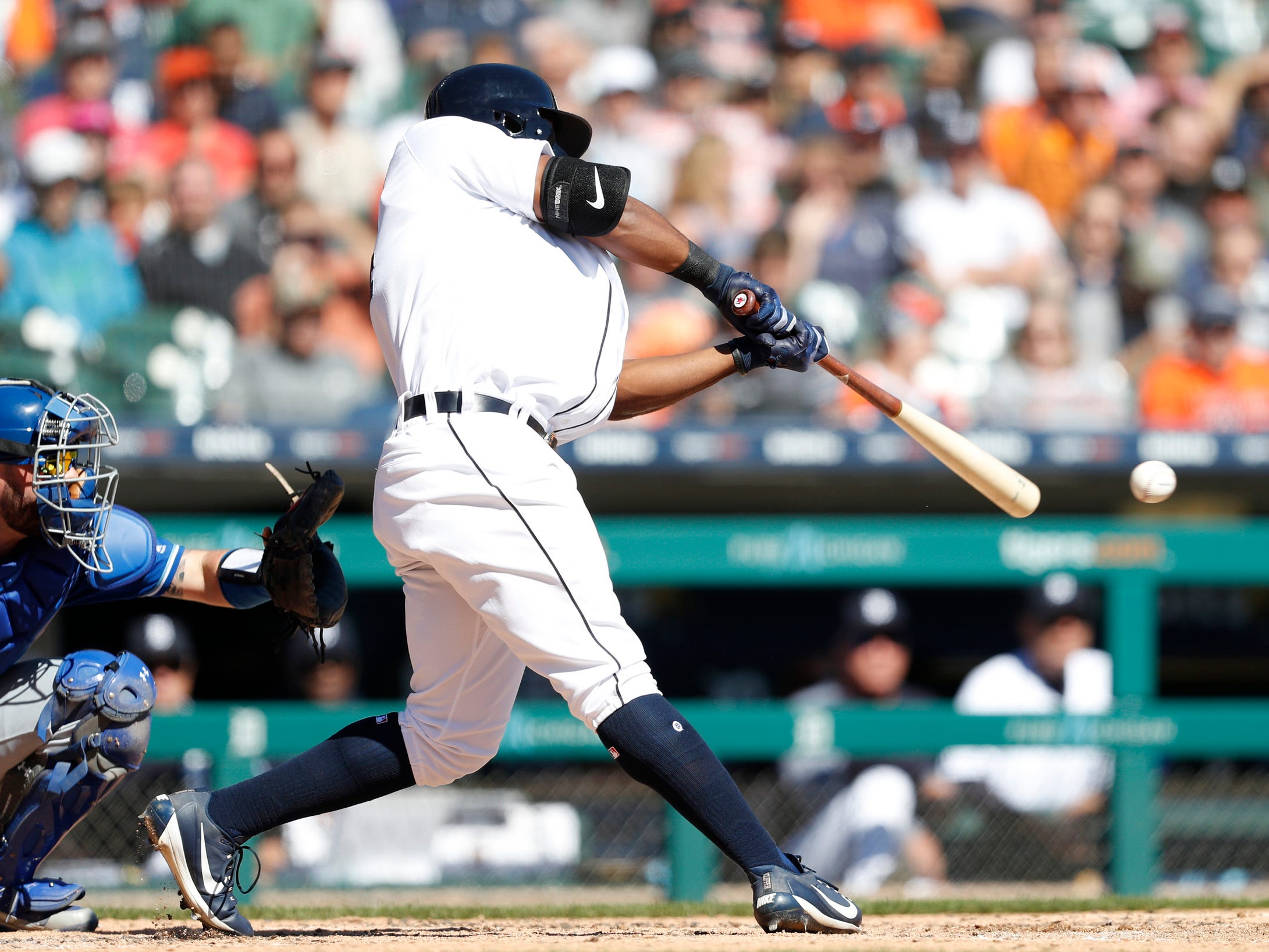 Tigers designated hitter Christin Stewart gets a hit for a single during the fourth inning on Sunday, Sept. 23, 2018, at Comerica Park.
