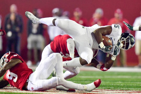 Michigan State running back La'Darius Jefferson is tackled against Indiana during the first half Saturday, Sept. 22, 2018 in Bloomington, Ind.