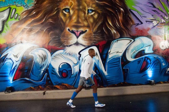 Detroit Lions receiver Kenny Golladay in the Ford Ford tunnel before the game against the New England Patriots on Sept. 23, 2018.