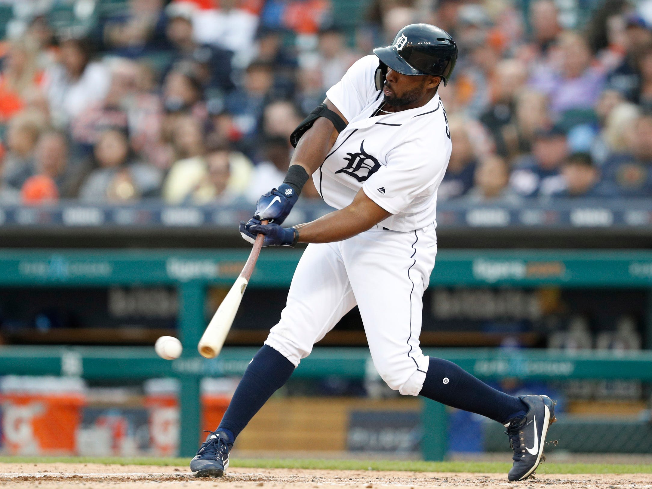 Detroit Tigers left fielder Christin Stewart hits a single during the third inning against the Kansas City Royals at Comerica Park on Sept. 22, 2018.