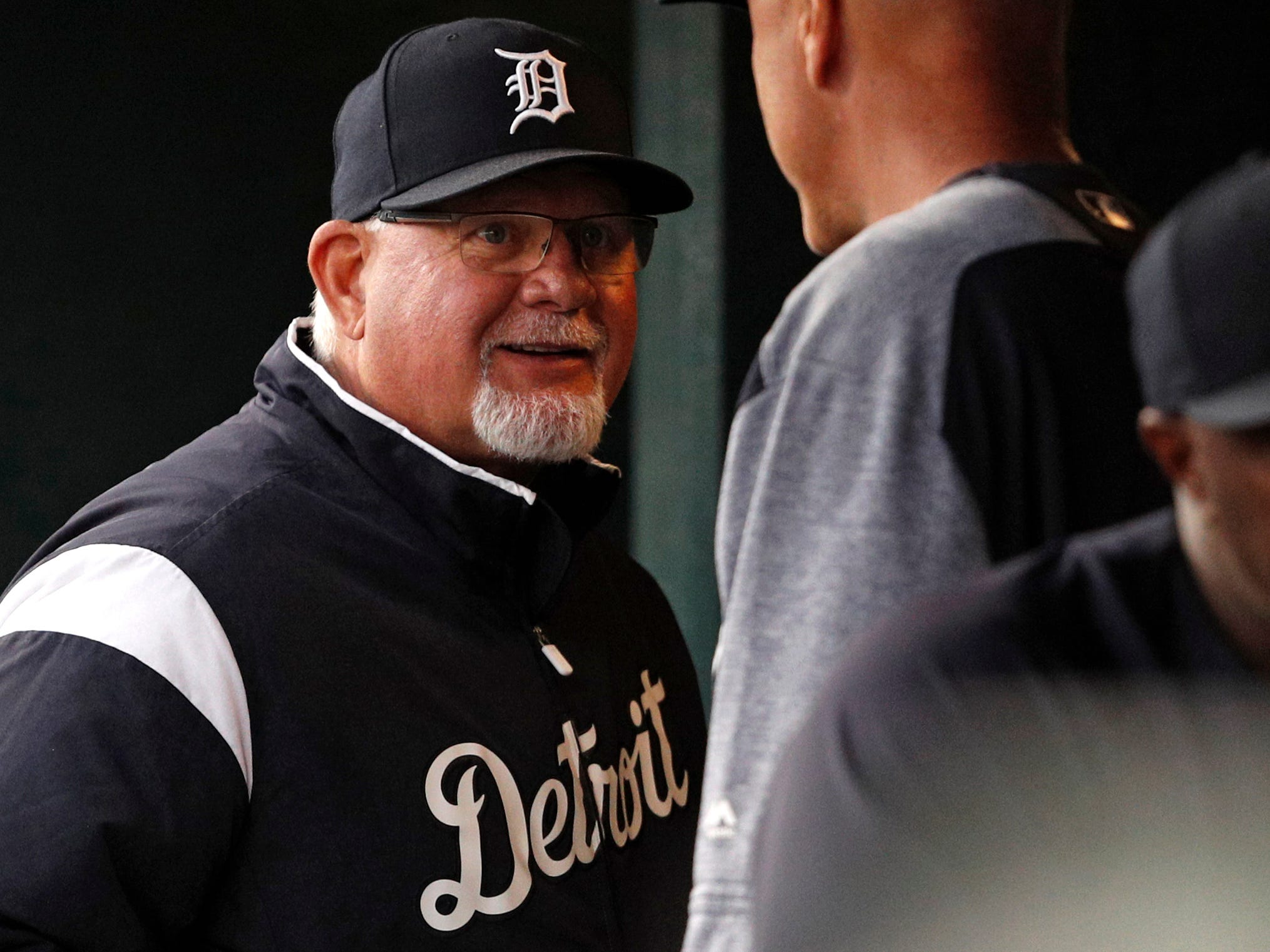 Detroit Tigers manager Ron Gardenhire smiles in the dugout during the fourth inning against the Kansas City Royals at Comerica Park on Sept. 22, 2018.