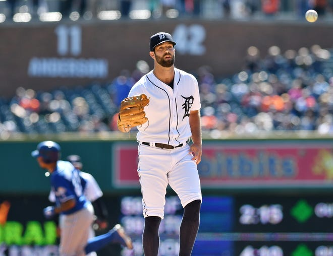 Tigers starting pitcher Daniel Norris waits for the ball while Royals' Adalberto Mondesi rounds the bases on his solo home run in the first inning on Sunday.