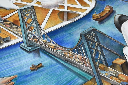 A detail from the fresco depicts the Ambassador Bridge.