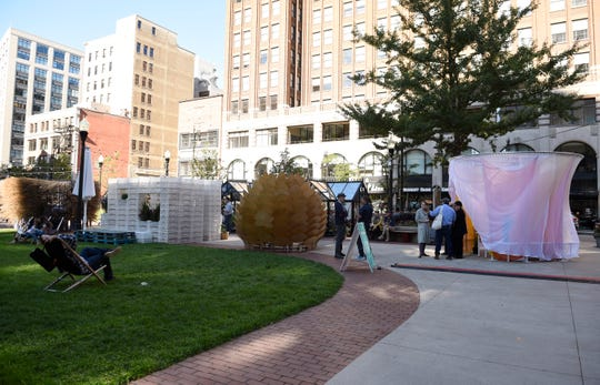 Sukkahs are on display in Capitol Park during Sukkah x Detroit. A sukkah, or temporary structure serves as the centerpiece for the eight-day Jewish holiday of Sukkot.