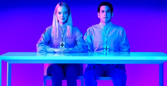 "Owen (Jonah Hill) and Annie (Emma Stone) in ""Maniac."""