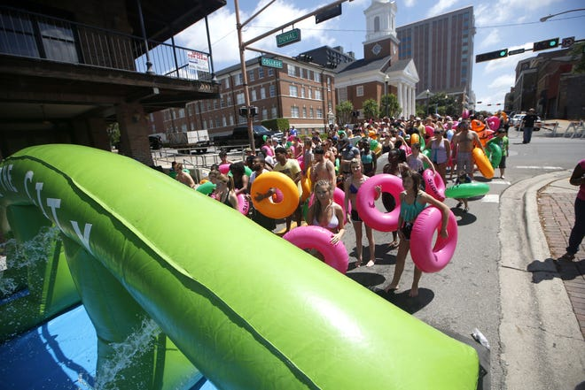 Inspiring the upcoming Slide 4 Skip event, Slide the City saw major success in April 2016 as College Avenue transformed into a water slide.