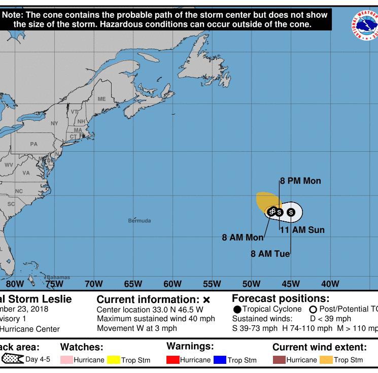 Subtropical Storm Leslie forms in Atlantic