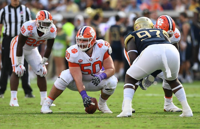 Clemson center Justin Falcinelli (50) plays against Georgia Tech during the 2nd quarter at Georgia Tech's Bobby Dodd Stadium Saturday, September 22, 2018.