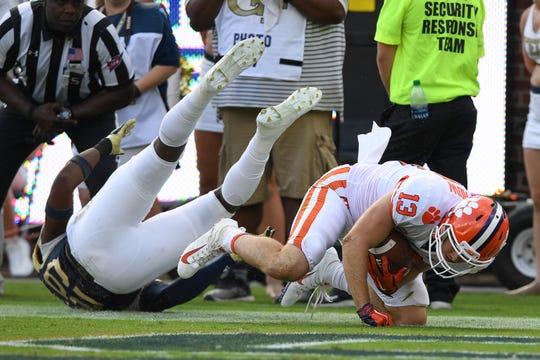 Clemson wide receiver Hunter Renfrow (13) catches a TD against Georgia Tech during the 2nd quarter at Georgia Tech's Bobby Dodd Stadium Saturday, September 22, 2018.