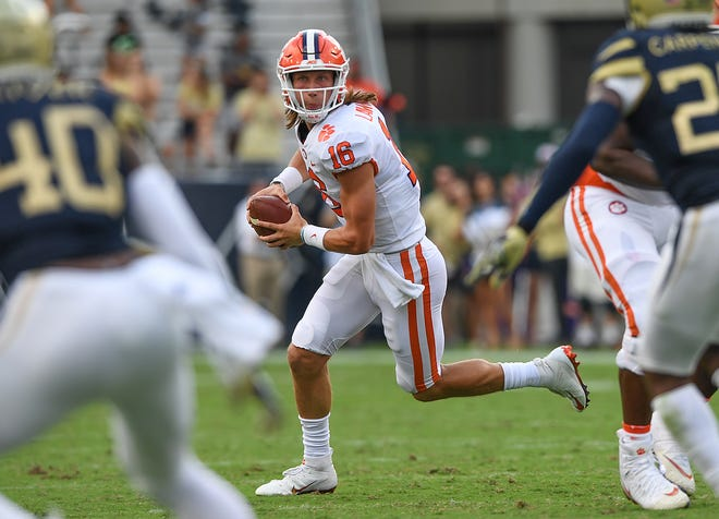 Clemson quarterback Trevor Lawrence during the second quarter against Georgia Tech
